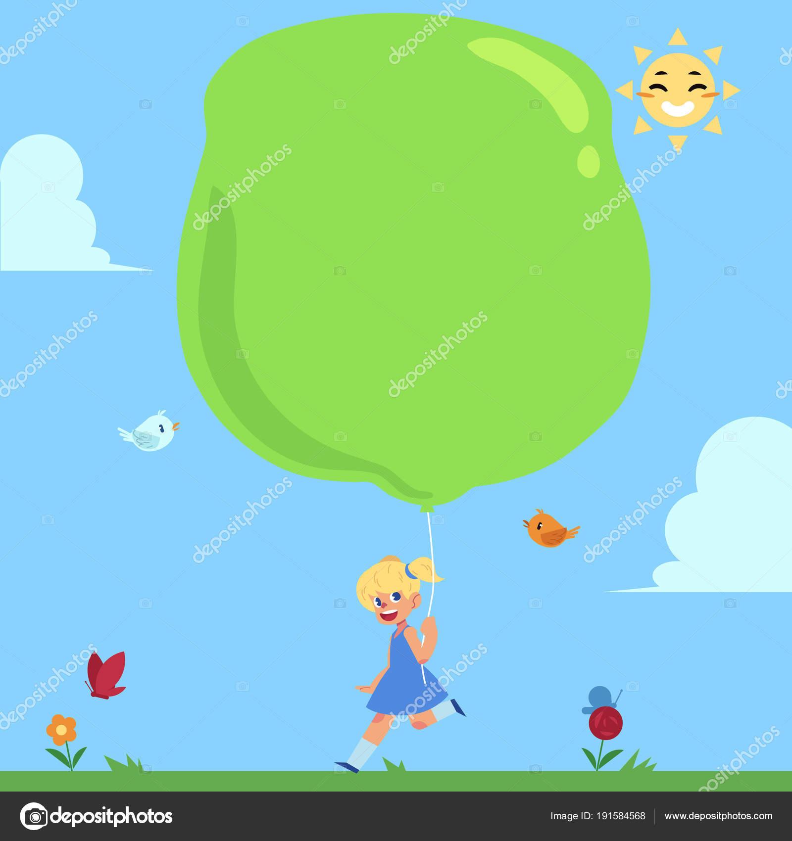 happy girl running outside big balloon in hand stock vector
