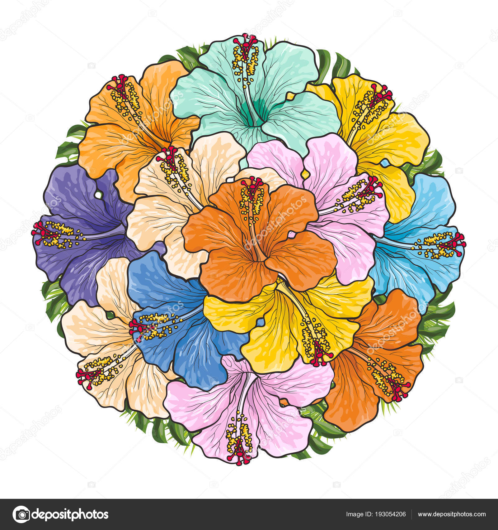 Tropical Flowers Hibiscus In Bouquet Of Sphere Shape Isolated On