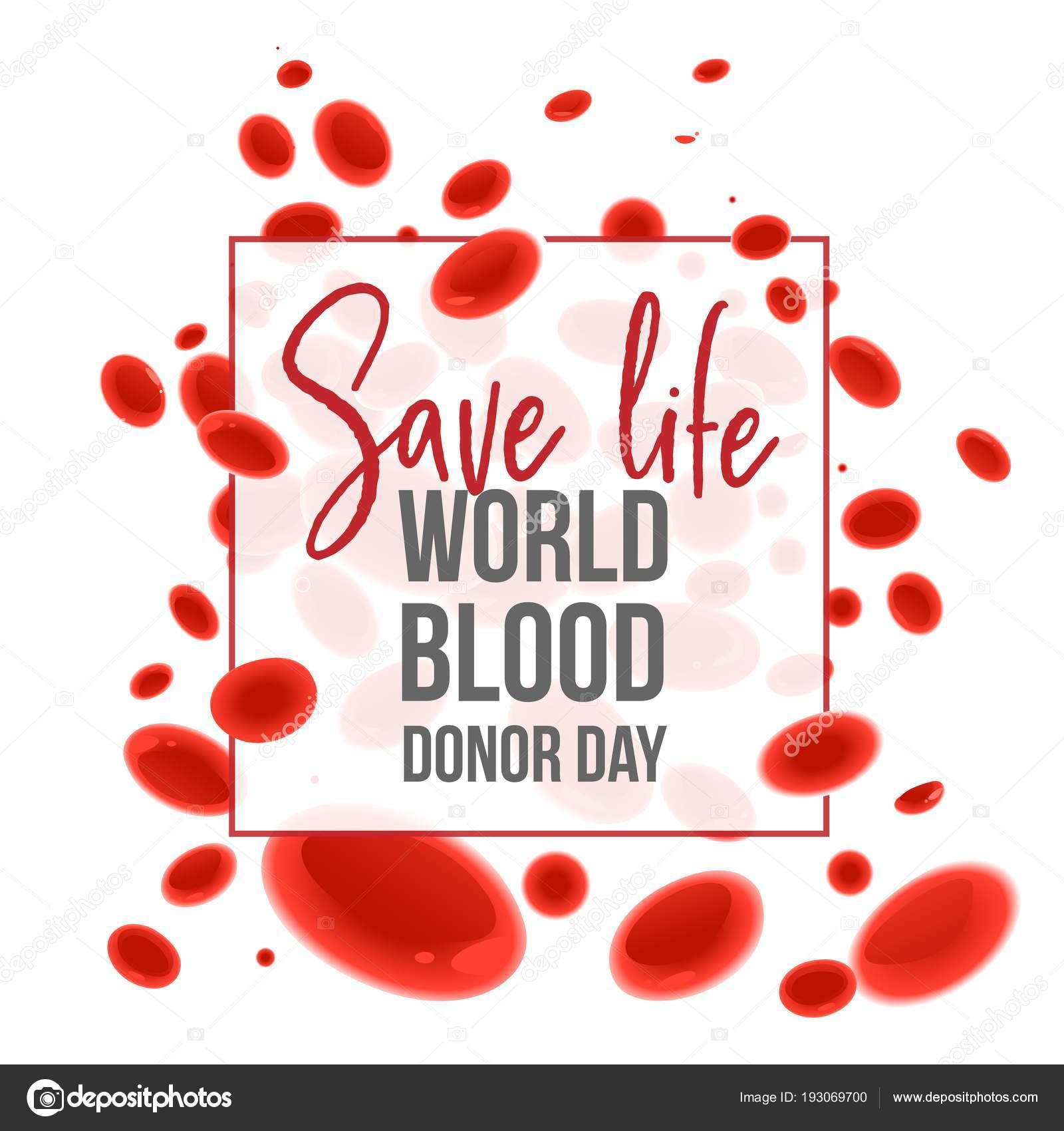 Banner de mundo día del donante de sangre con cartel de salvar vida ...