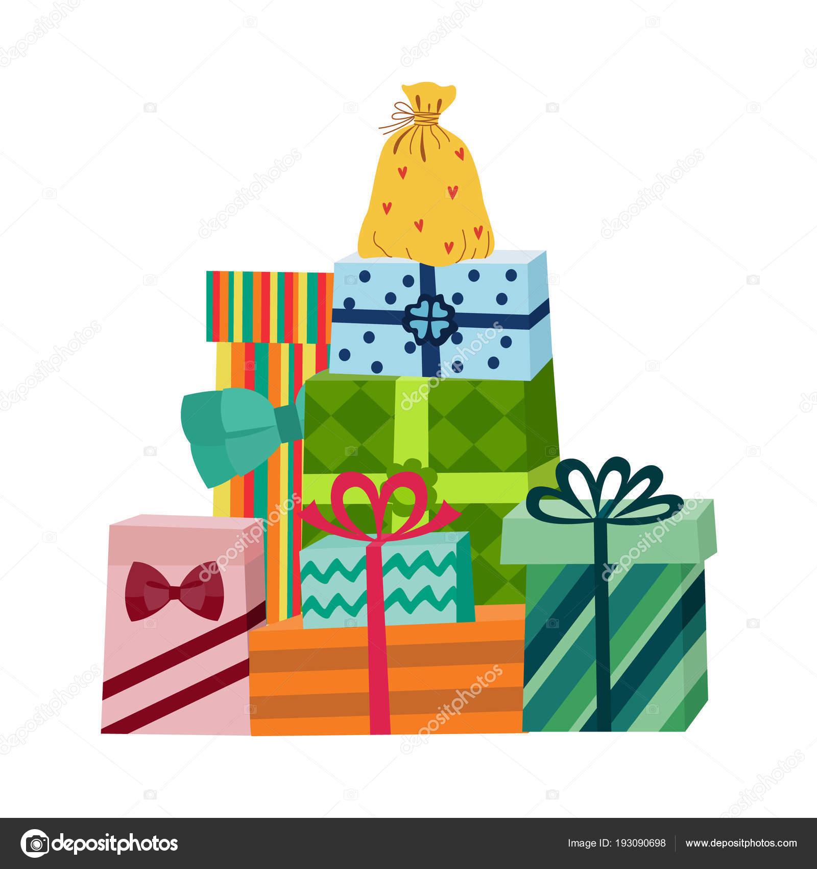 Vector cartoon present gift box ribbon bow pile — Stock ...