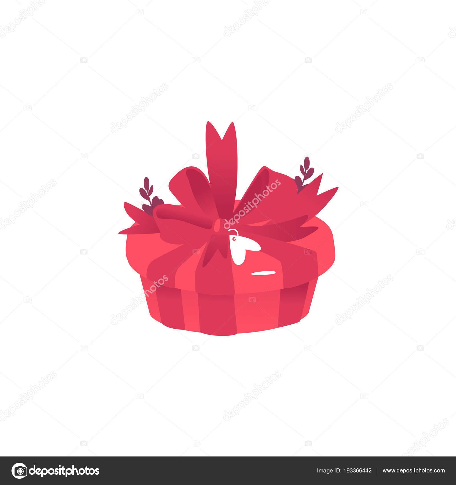 Contenitore di regalo con grande fiocco nastro e adesivo a forma di