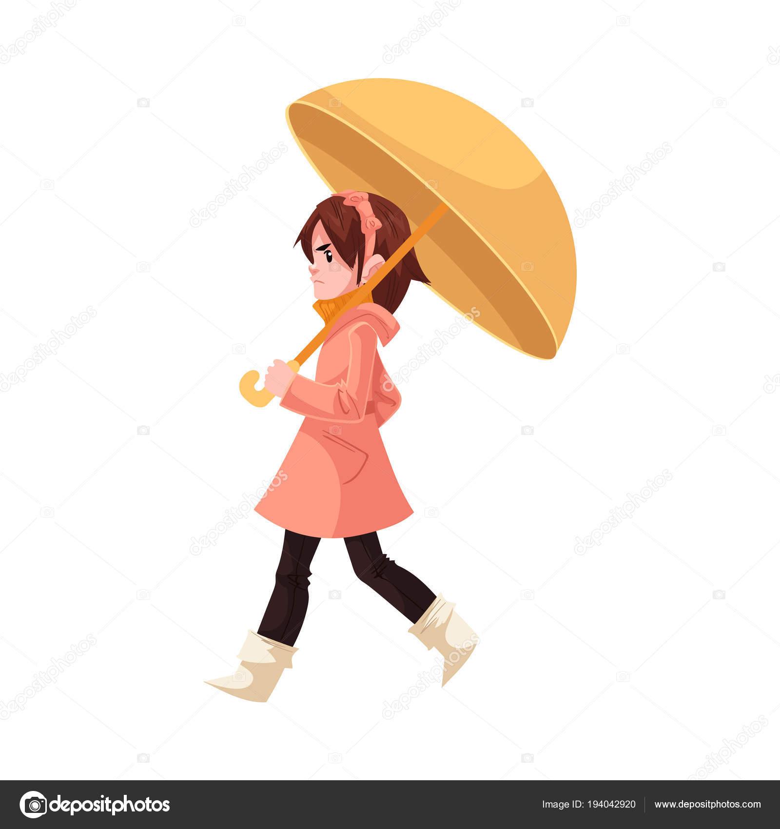 1b6438e9f14f8 Piccolo bambino bambina sotto l ombrello in cappotto e stivali di gomma in  passeggiate infastidito con pioggia isolata su priorità bassa bianca– ...