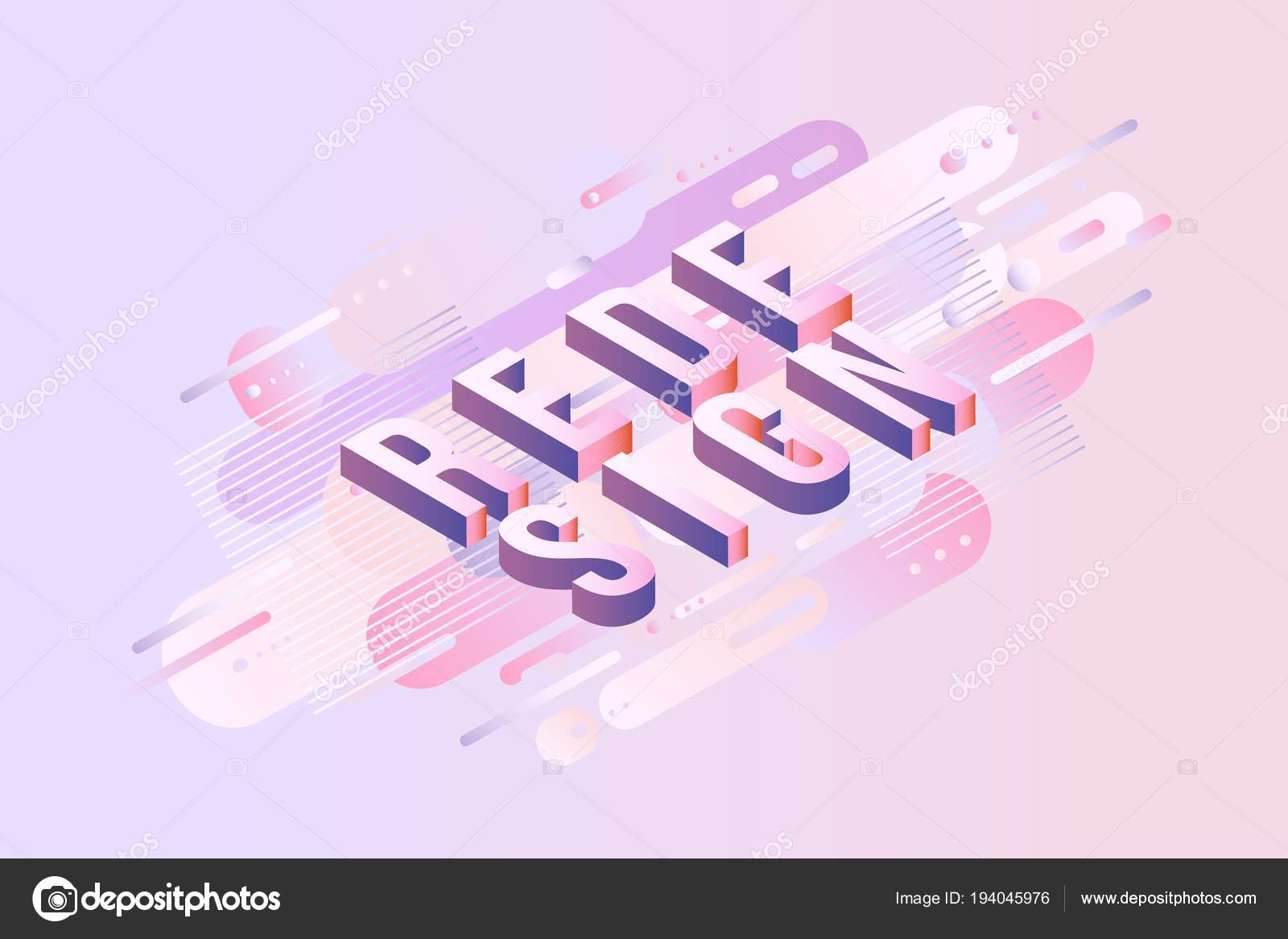 Redesign sign isometric design - letters on pastel background with ...