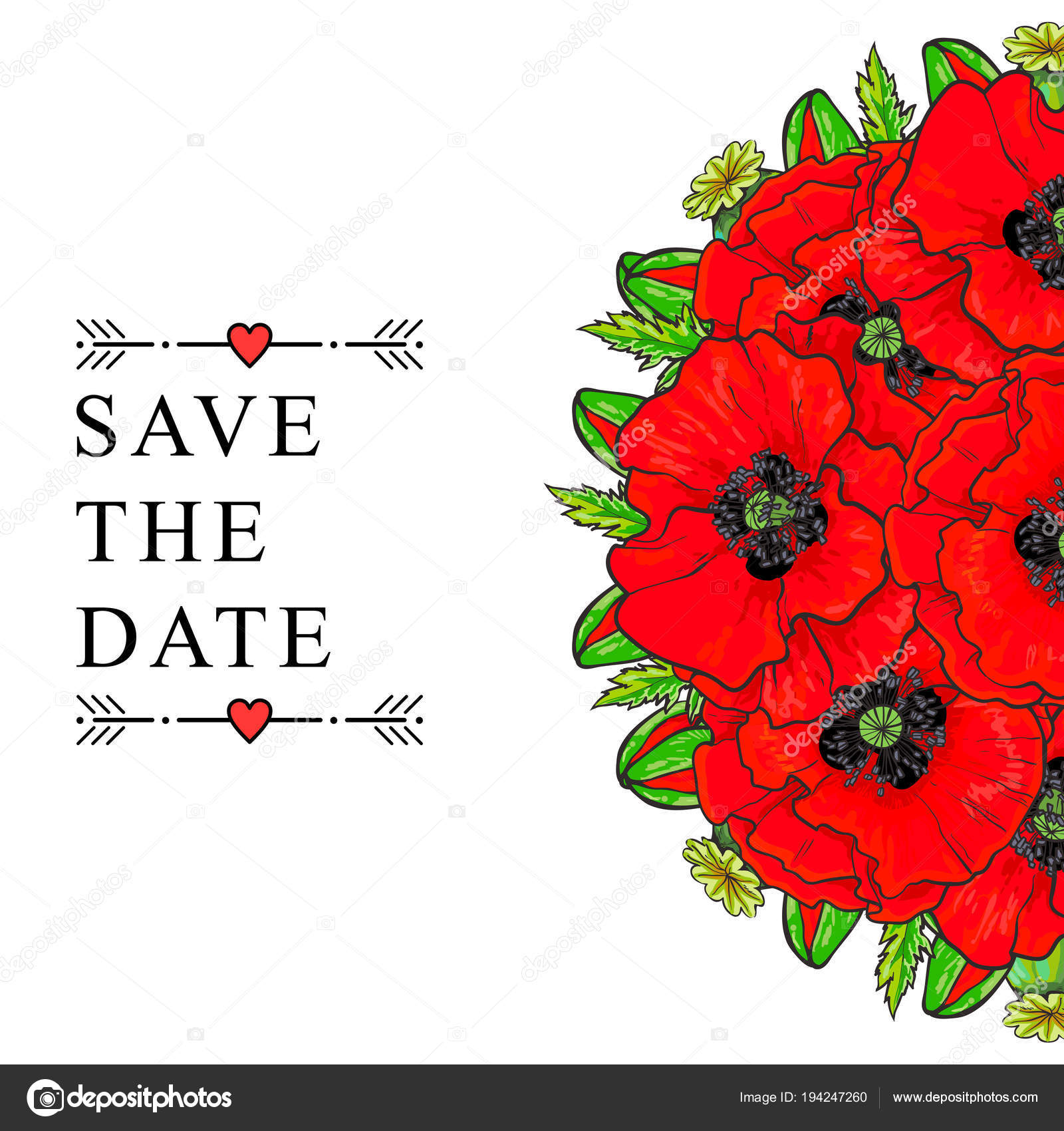 Save the date wedding invitation template, poppies — Stock Vector ...