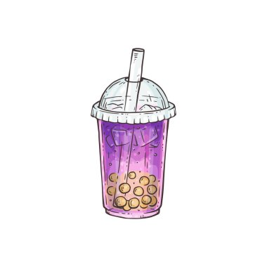 Purple bubble tea with yellow pearls in plastic cup with a straw