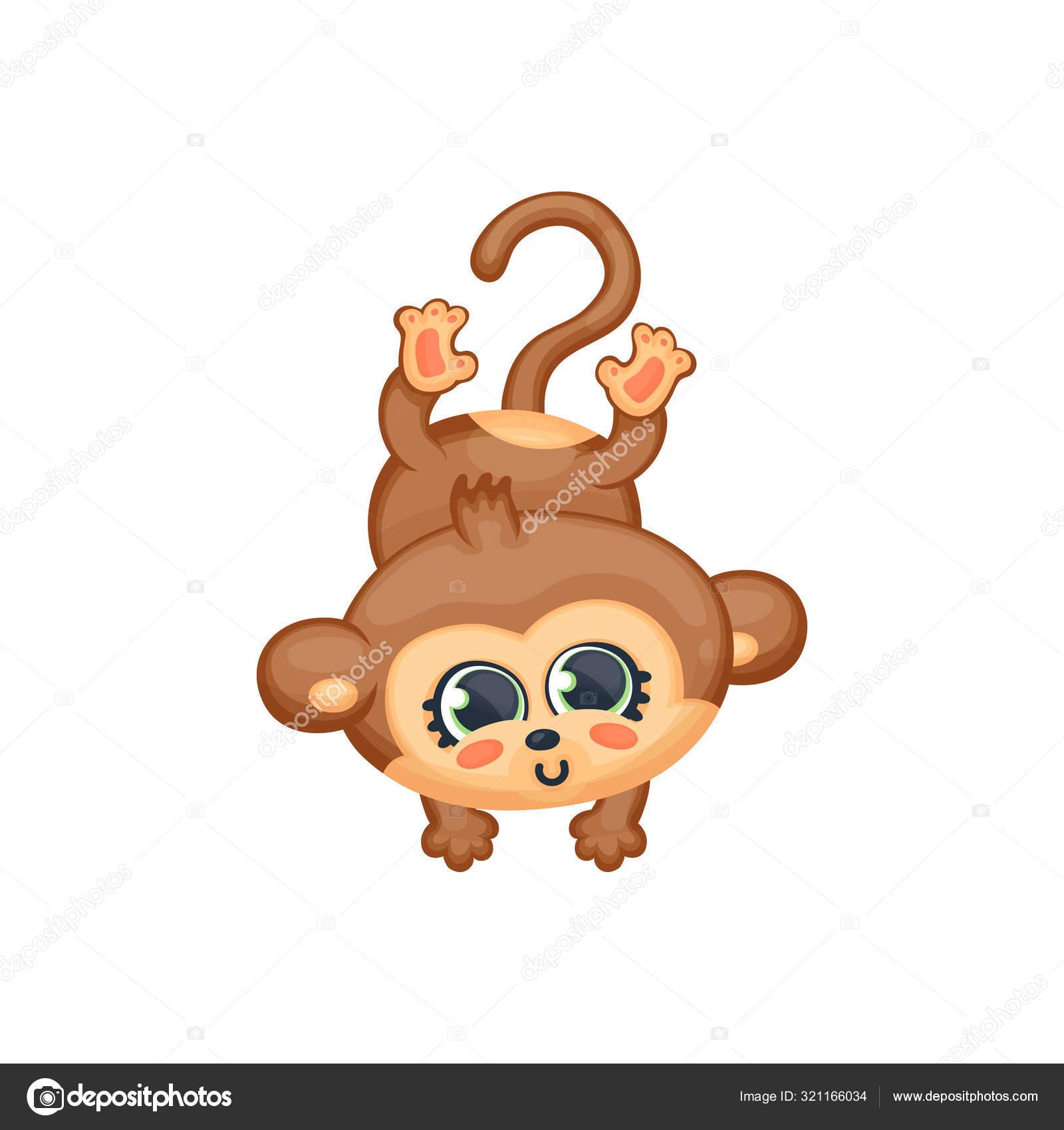 Macaco Bebe Ou Chimp Personagem Pulando Ilustracao Vetorial