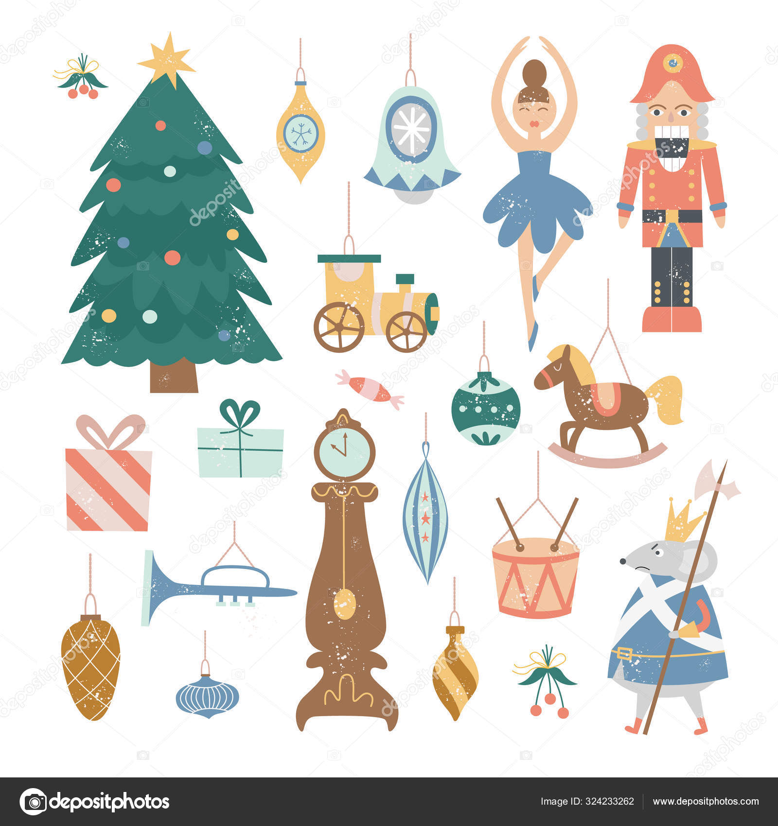 Nutcracker Christmas Decoration Set Vintage Cartoon Holiday Tree Ornaments Stock Vector C Sabelskaya 324233262 Check out our cartoon tree selection for the very best in unique or custom, handmade pieces from our party décor shops. https depositphotos com 324233262 stock illustration nutcracker christmas decoration set vintage html