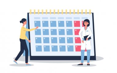 Female menstruation cycle calendar - cartoon woman and doctor