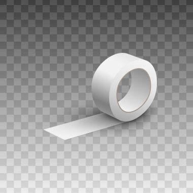 Adhesive sticky blank white tape or scotch roll template, realistic vector illustration isolated on transparent background. Brand packaging element mockup. icon