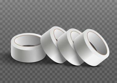 White realistic sticky tape roll stack isolated on transparent background. Rolls of adhesive tape lying in one line - vector illustration. icon