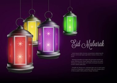 Ramadan holiday banner with greeting and lanterns realistic vector illustration.
