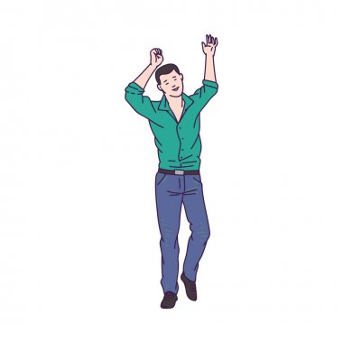 Young man or guy character dancing sketch cartoon vector illustration isolated.