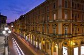 Photo Night view of via Independenza from Montagnola Park, Bologna, Italy