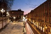 Photo Night view of via Independenza from Montagnola Park, Bologna, Italy
