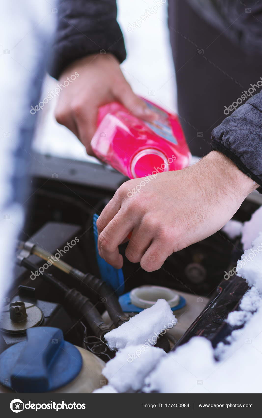 Pouring Antifreeze Coolant To Car Engine At Cold Winter Day Stock Pink Close Up View Of Hands With Bottle Photo By Alemtma