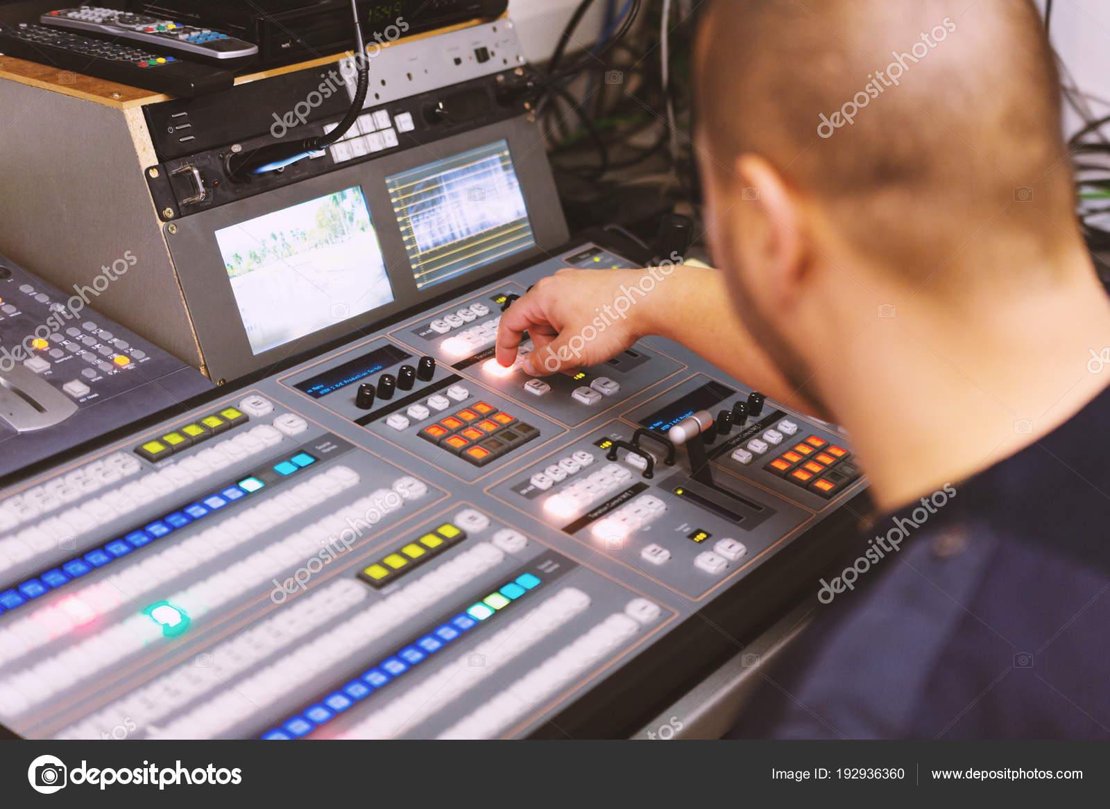 Editor Working Audio Video Mixer Television Broadcast Studio