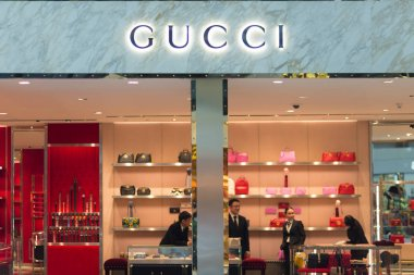 Bangkok, Thailand - December 19, 2016: Details of Gucci store at Suvarnabhumi International Airport, Bangkok, Thailand. Close up. Gucci is an Italian fashion and leather goods brand, founded in 1920 i