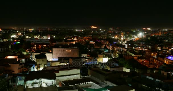 Glowing cityscape at Jodhpur by night. Scenic travel destination and famous tourist attraction in Rajasthan, India. Time lapse.
