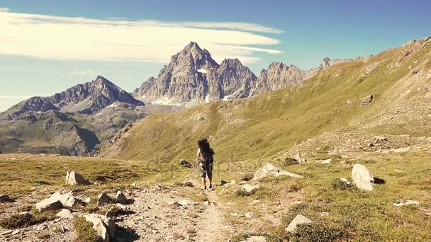 Woman trekking in idyllic mountain landscape on footpath crossing blooming green meadow set amid high altitude rocky mountain range and peaks. Summer adventures on the Italian Alps.
