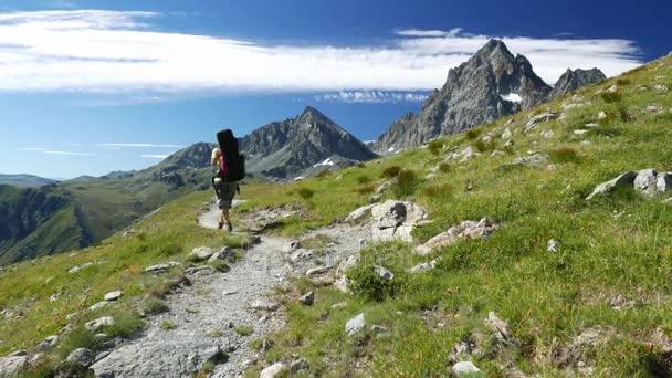 Žena, trekking v idylické horské krajině na chodník přes kvetoucí zelené louce uprostřed skalnatého pohoří vysoké nadmořské výšce a vrcholy. Letní dobrodružství v italských Alpách. Zpomalený pohyb