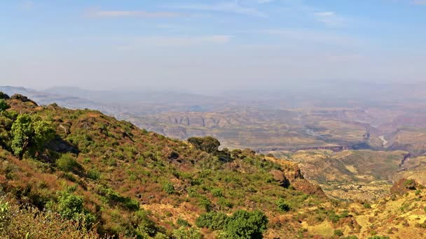 Panoramic on the Ethiopian plain and rift valley from the Simien Mountains highlands, Ethiopia, East Africa.