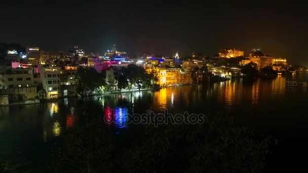 Udaipur Rajasthan India. Time lapse by night  from above. Travel destination and tourism landmarks.