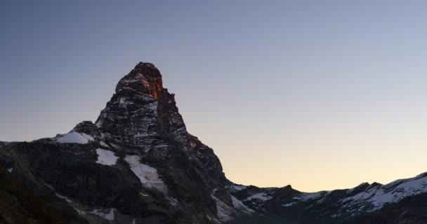Matterhorn Time lapse Sunrise over Cervino summit (4478 m), italian side, Valle dAosta