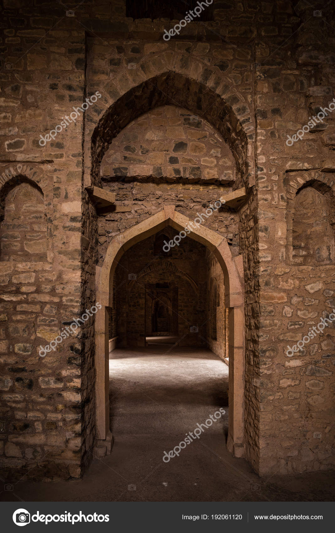 Mandu India afghan ruins of islam kingdom palace interior mosque monument and muslim tomb. Sunshine from door in dark corridor. u2014 Photo by fbxx & Mandu India afghan ruins of islam kingdom palace interior mosque ...