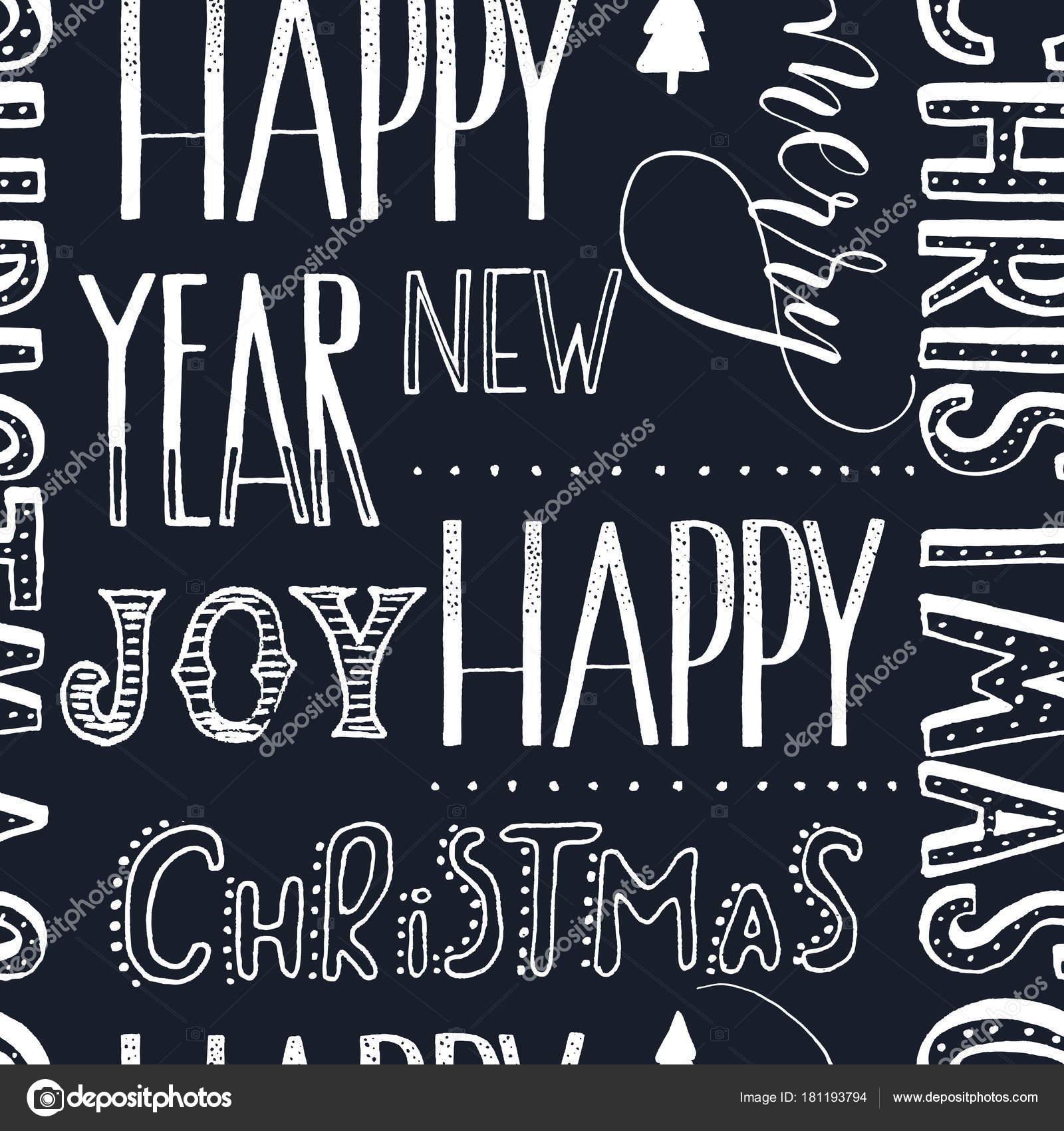 Nahtloses Muster der Weihnachten Worte Hand Schriftzug auf schwarzem ...