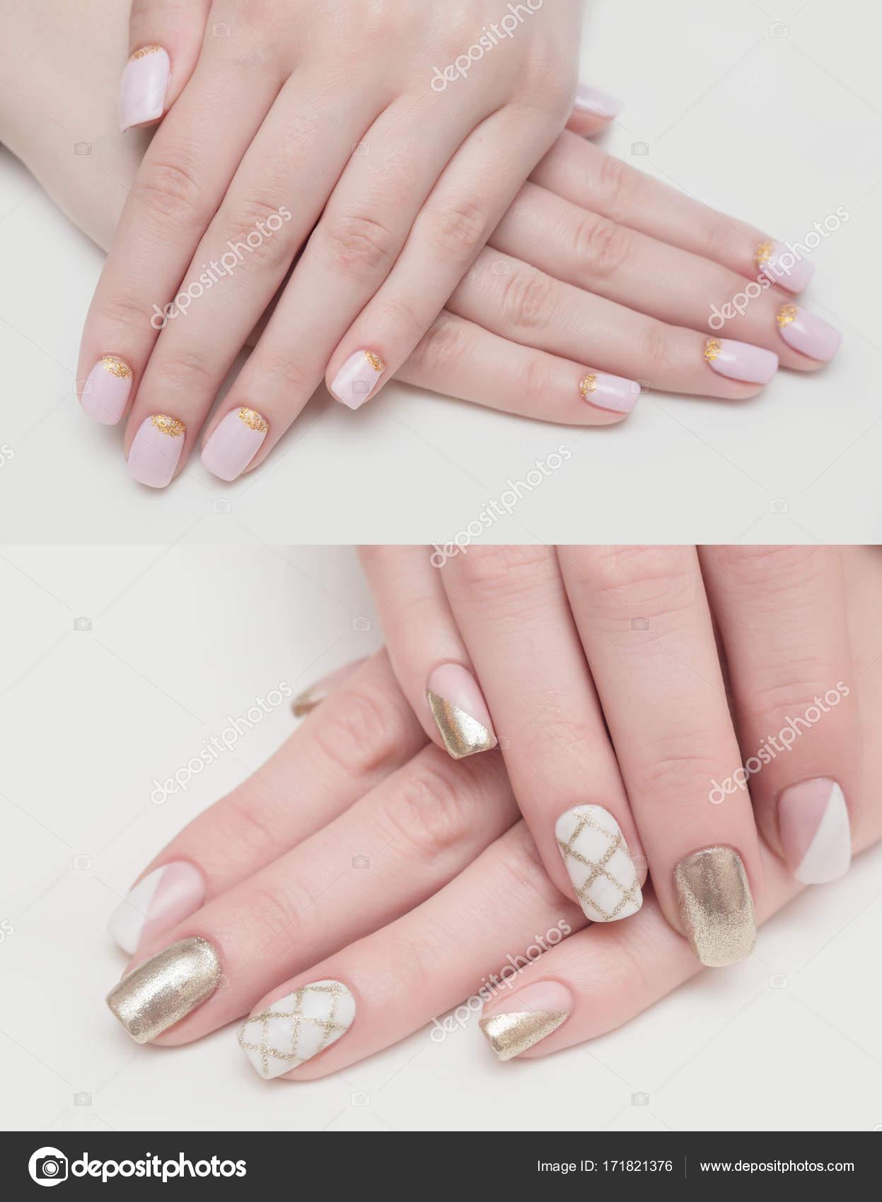 Sehr schöner Silber Metallic Nägel Closeup Gel, Acryl — Stockfoto ...