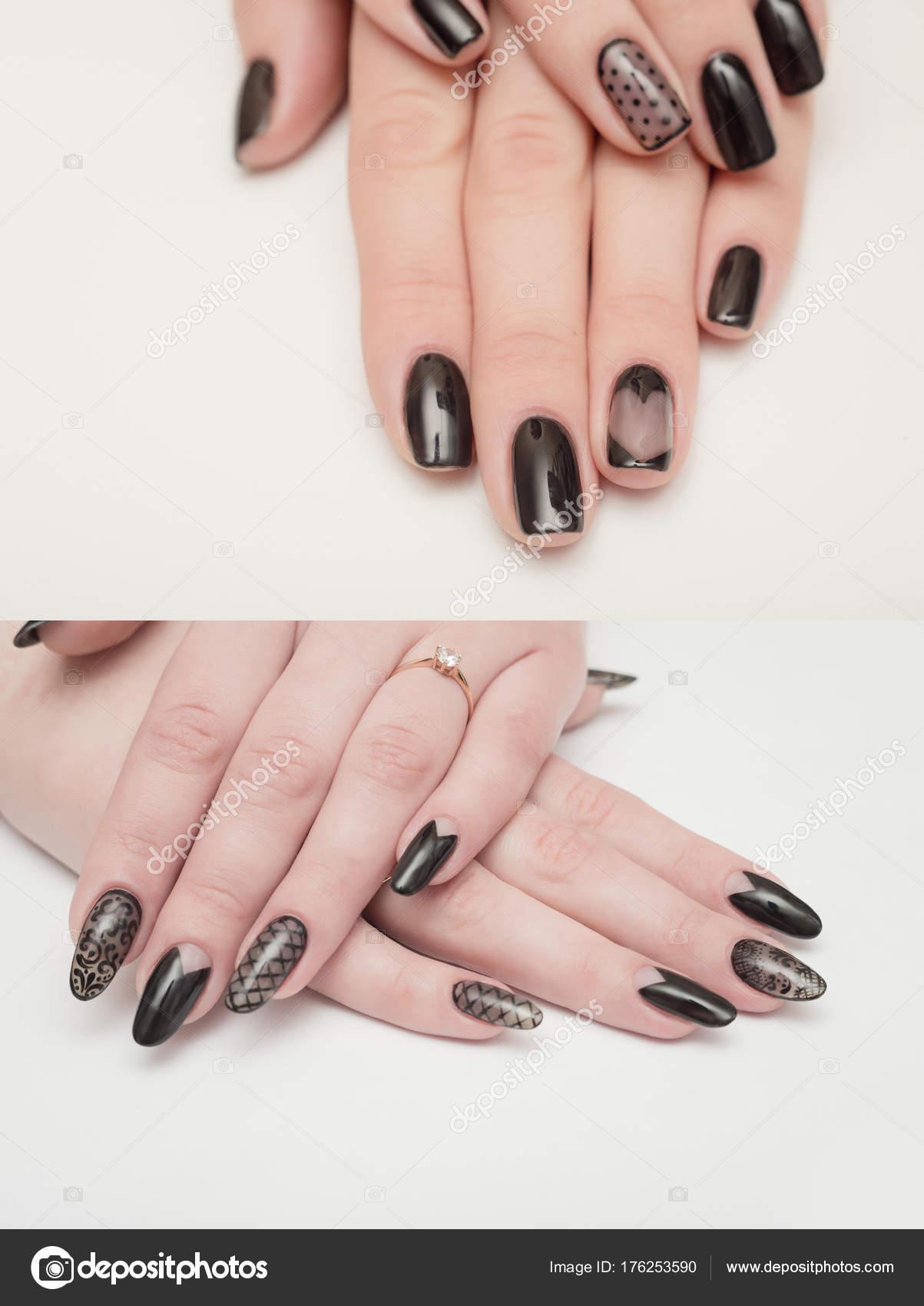 Gros plan des mains de femme avec les ongles noirs. manucure \u2014 Image de  volniy
