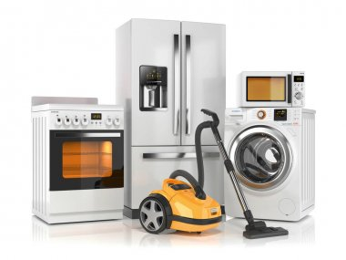 Set of home appliances. Refrigerator, washing machine, microwave
