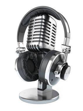 Retro studio microphone and headphones