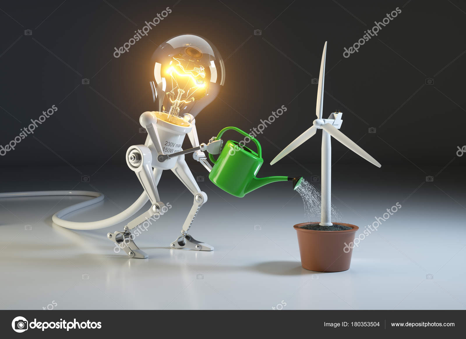 Robot lamp watering wind generator in a pot  The concept of