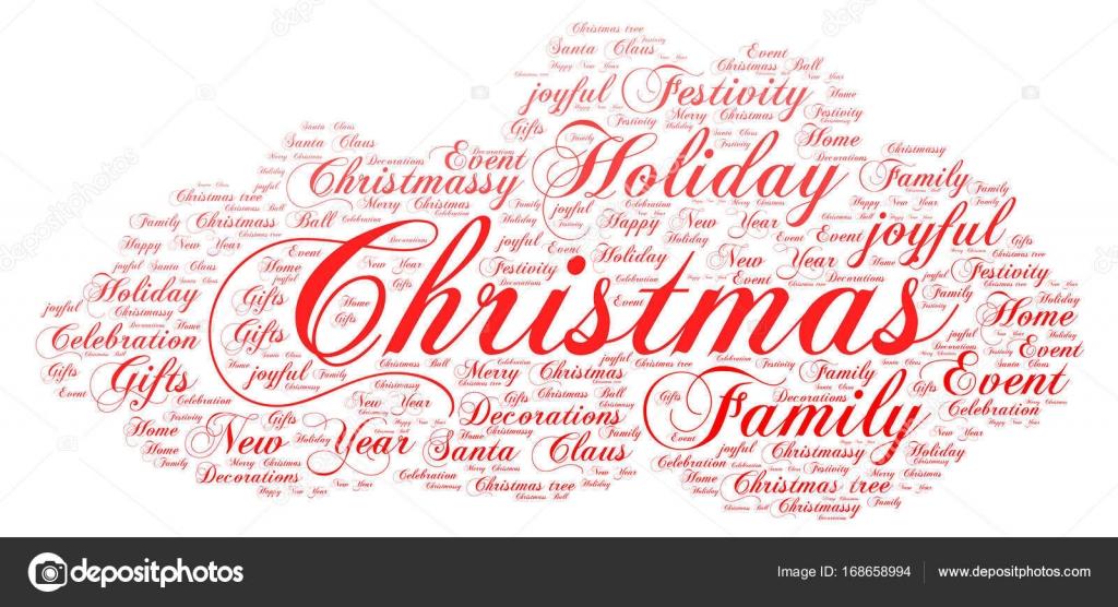 Wörter Wolke Weihnachten Konzept, Cloud-Form — Stockvektor ...