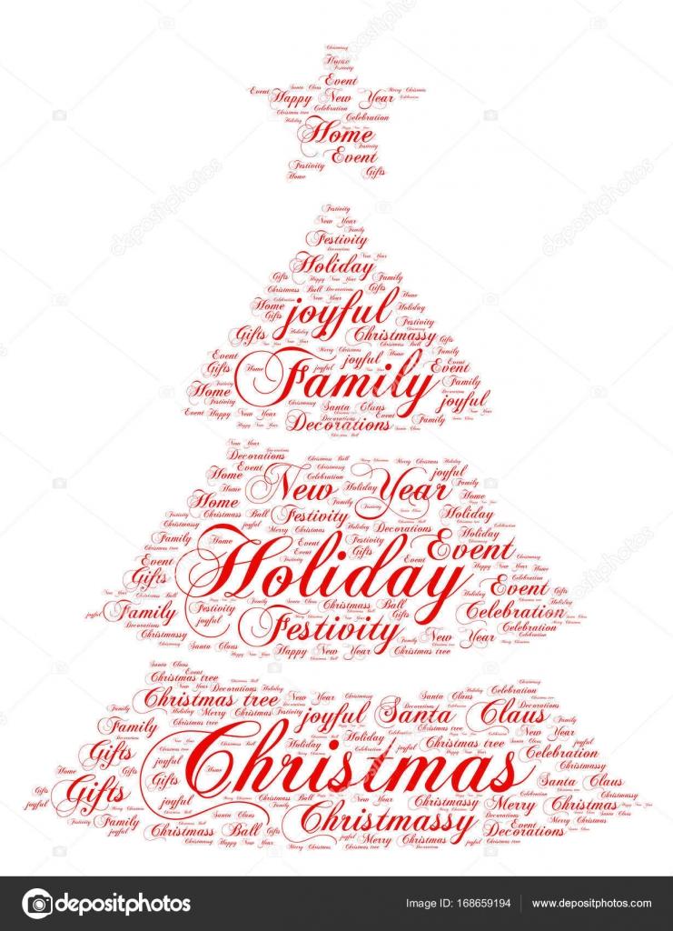 Wörter Wolke Weihnachten Weihnachtsbaum-Form-Konzept — Stockvektor ...