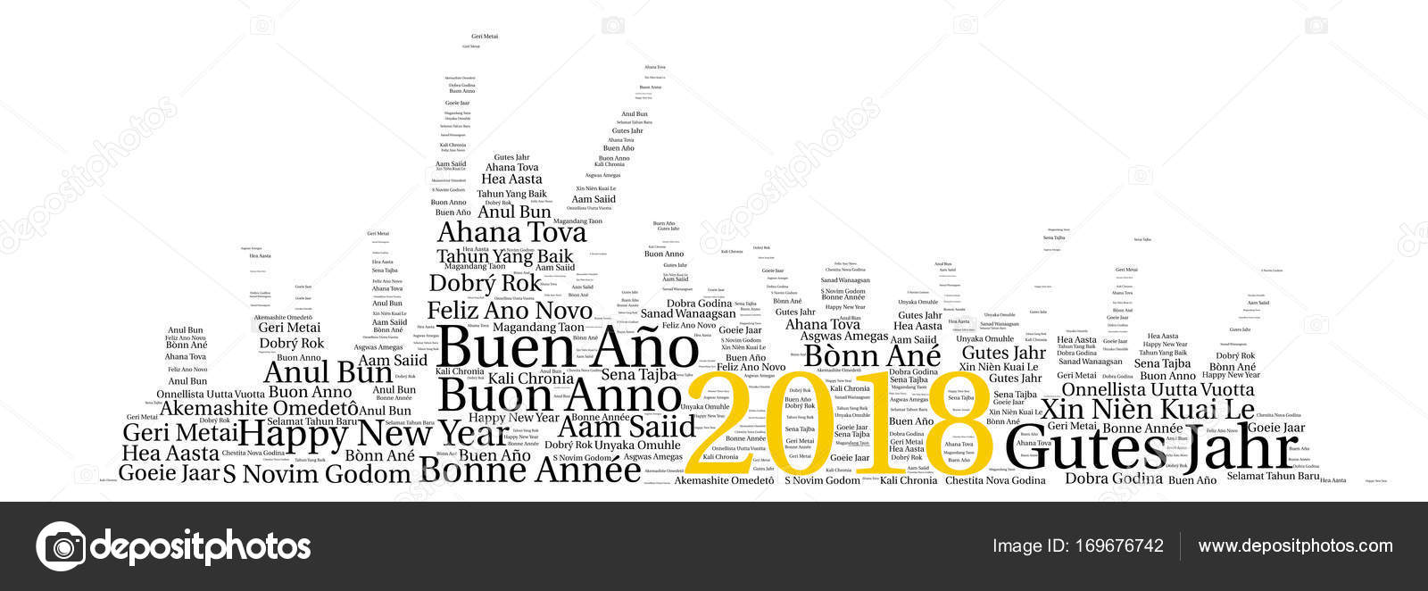 Words Cloud Concept Of New Year In All Languages Of The World - All languages in the world
