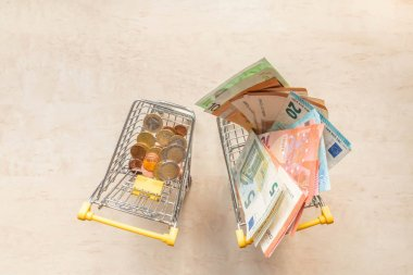 Euro coins in one small shopping cart and euro banknotes in another one. Miniature trolleys with euro coins and notes. Metal and paper money. Copy space. Top view. Poor and rich life in Europe concept