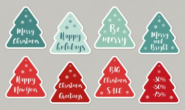 colored cute trees tags