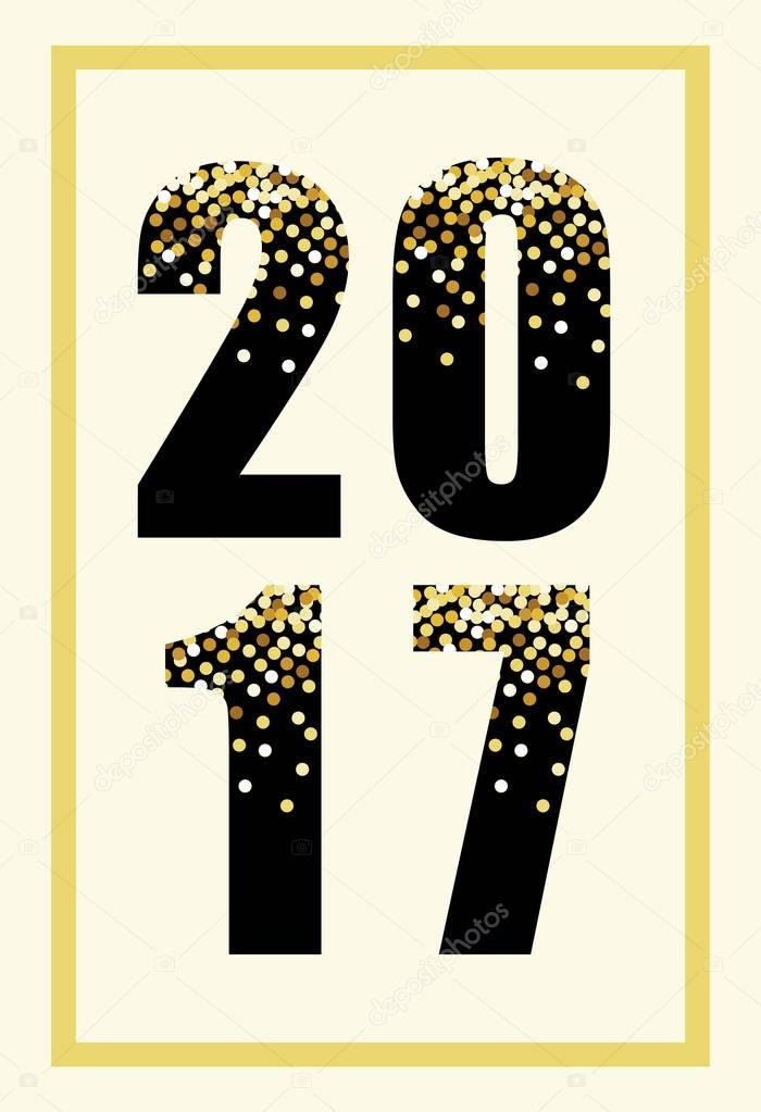 cute happy new year banner with glamour golden confetti numbers of 2017 vector by ishkrabal