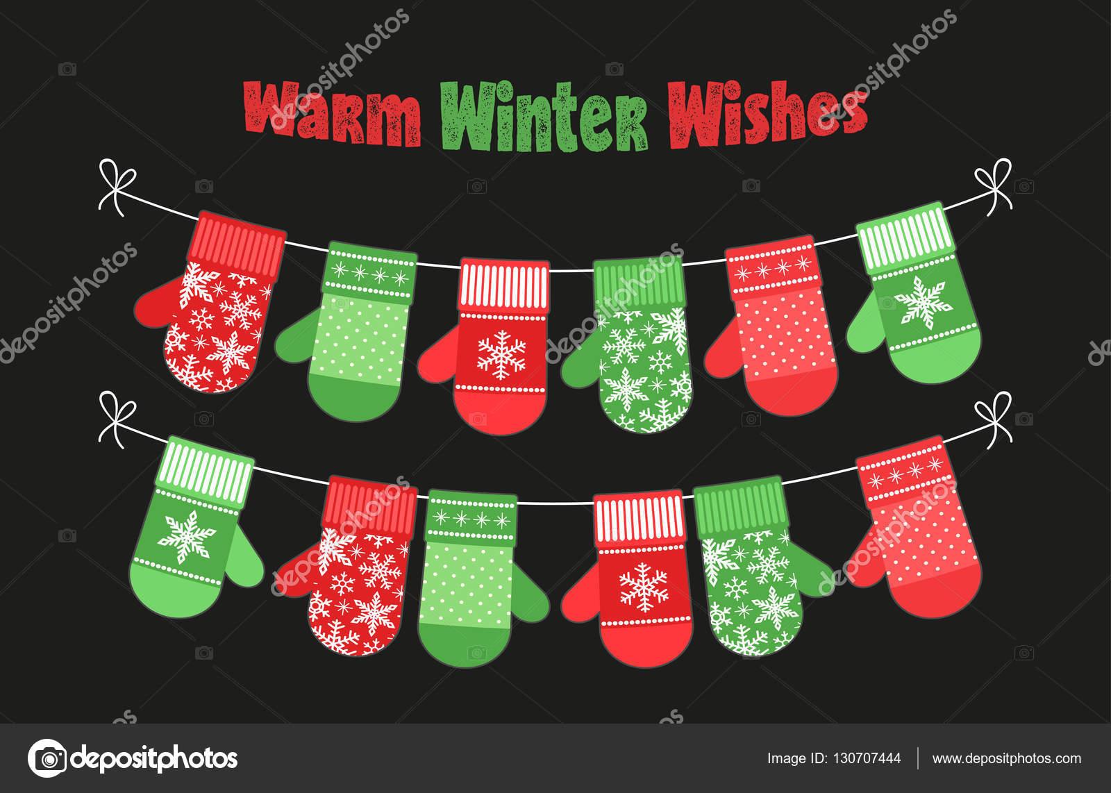 Banner de Navidad lindo con las manoplas — Archivo Imágenes ...
