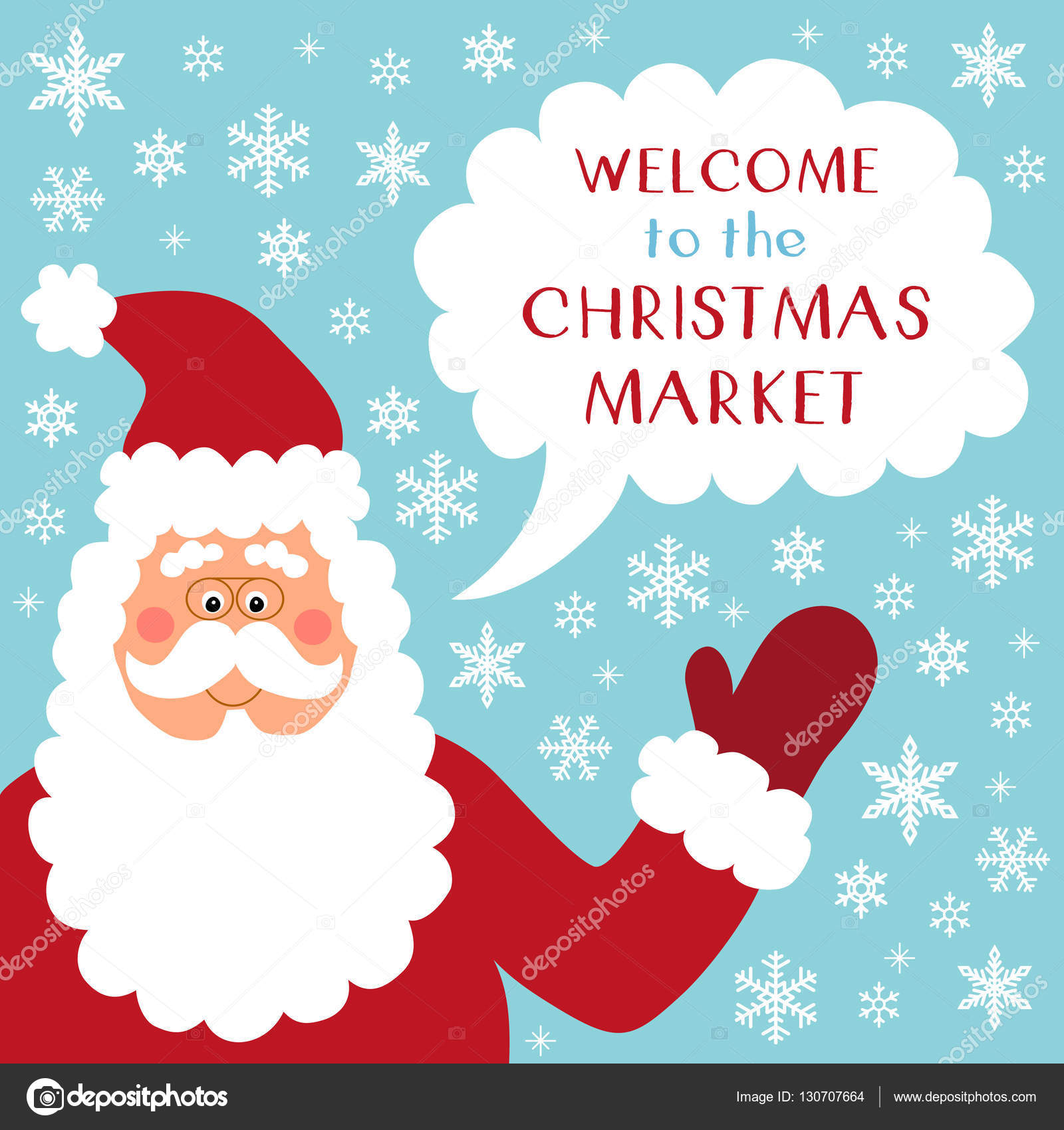 Cute Retro Banner With Funny Cartoon Character Of Santa Claus With Speech  Bubble And Quote Welcome To The Christmas Market U2014 Vector By IShkrabal