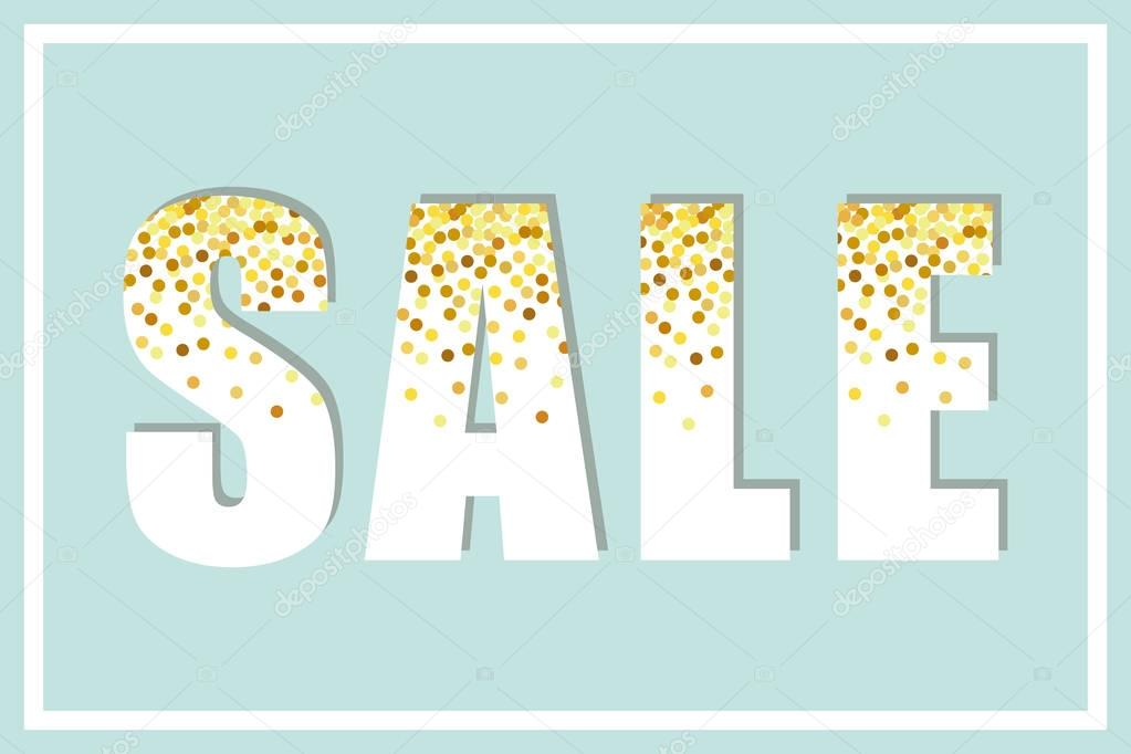 Sale letters with golden confetti