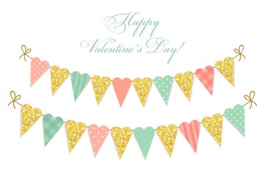 heart shaped glittering bunting flags
