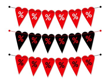 Set of heart shaped bunting flags