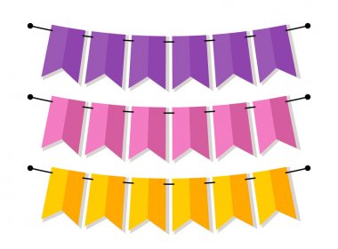 pink and yellow bunting flags