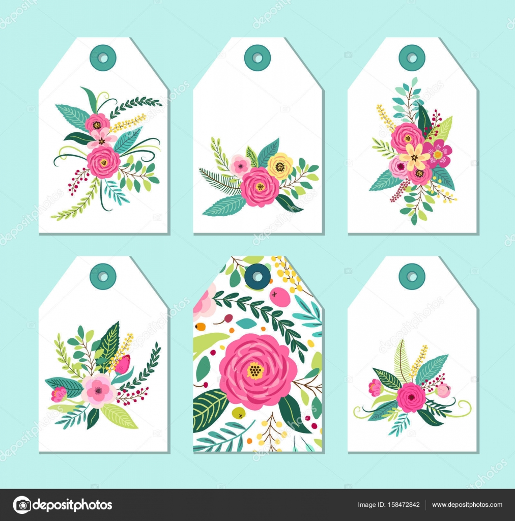 Cute Gift Tags Set With Rustic Hand Drawn Spring Flowers For Your Decoration Vector By IShkrabal