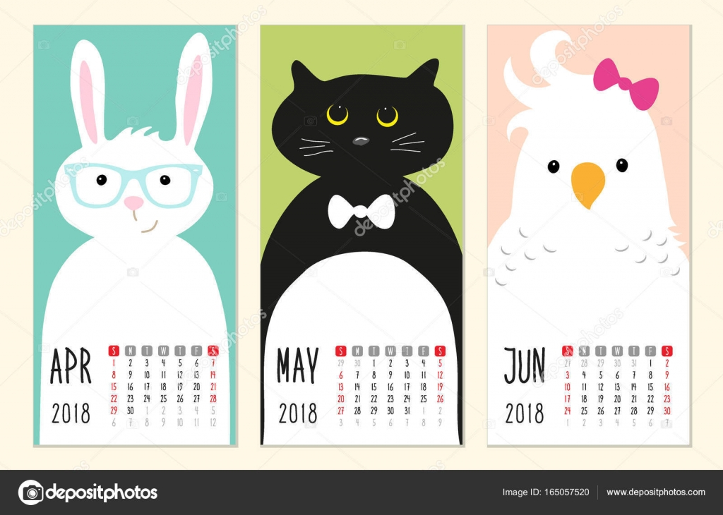 Cute Calendar Illustration : Cute calendar pages with funny cartoon animals