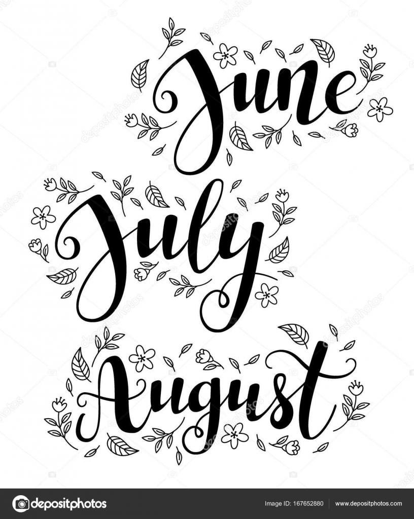 Cute brush calligraphy of summer months the year