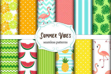 Cute set of Summer Vibes seamless patterns. Vector illustration.